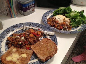 Dinner with my neighbor. I had mine with buttered toast. She had hers with an egg and salad.