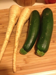 Parsnips on the left, zucchini on the right. Check out the stems on the zucchini!