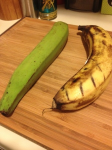 Green and unripened on the left. Yellow and ripe on the right.